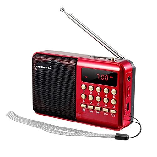 QiKun-Home KK11 mini radio portátil portátil portátil FM USB TF MP3 altavoz recargable FM Radio para ancianos rojo + negro 12x3x7cm