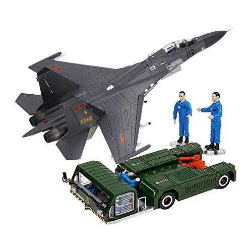 JHSHENGSHI Modelo de avión, Modelo de Coche de aleación J-11 Fighter Tractor Remolque Modelo Militar estático de Apoyo