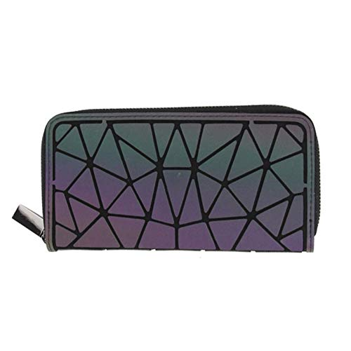 Fashion 1PCS Luminous Women's Backpack 3-Piece Men's Laptop Backpack Student Schoolbag Hologram Wallet Geometric Backpack Schoolbag Travel Accessories (Color : Long Wallet)