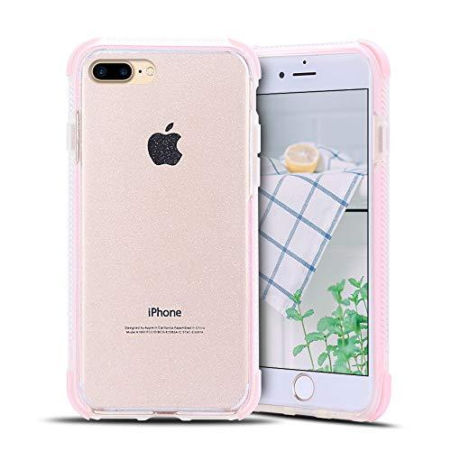 Anfire-ES Funda para iPhone 7/8 Plus Silicona Case, Transparente Carcasa de Suave Flexible Gel TPU Tapa Ultra Ligero [Esquinas Reforzadas] Bumper Caja Claro Protector Caso Cubierta Trasero - Rosa
