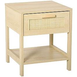 HOMCOM Table de Chevet tiroir et étagère cannage en rotin dim. 40L x 40l x 48H cm MDF Aspect Bois Clair