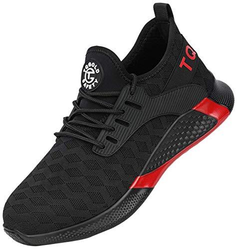 tqgold® Sicherheitsschuhe Herren Damen Arbeitsschuhe mit Stahlkappen S3 Arbeitsschuhe Leicht Atmungsaktive Sportlich Sneaker Schutzschuhe(8192Schwarz,EU42)