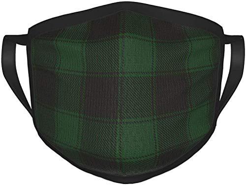 Soft Face Mask- Reusable Face Mask Green Black Buffalo Check Plaid Washable Adult Black Border Masks Face Cover
