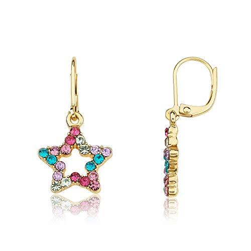 Little Miss Twin Stars Kids Earring - 14k Gold-Plated Multi Color Rainbow Dangle Leverback Earring - Hypoallergenic and Nickel Free For Sensitive Ears (Star)