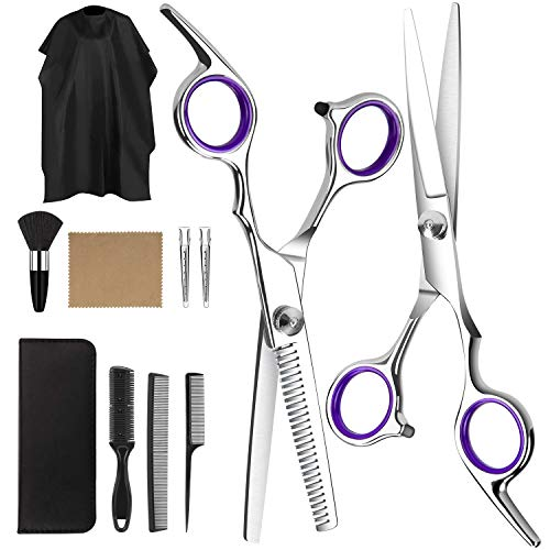 AiBast 11 Stück Haarschere Set, Profi Haarschneideschere Effilierschere Friseur Schere Haare Friseurschere Haarschnitt -Verwendung für Frauen, Männer, Kinder, Haustiere