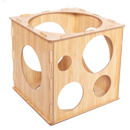 Gadpiparty Tamaños de Globos Caja de Medición Calibrador de Globos Plegable Cubo Arcos de Globos de Madera Columnas Soporte Decoración Herramienta de Medición de Tamaño