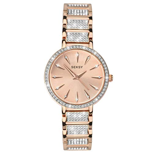 Women's Rose Gold with Fine Swarovski Luxury Crystals Bracelet Watch, Rose Gold Plated with fine Stone Set dial, Water Resistant, Extra Clasp, Seksy Collection by Sekonda (Rose Gold/Silver)