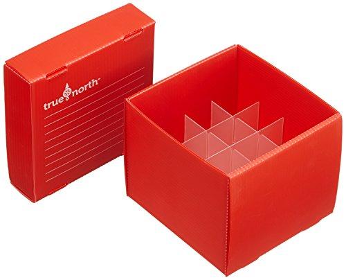 Heathrow Scientific HD120368 True North Flatpack - Caja para congelar tubos de ensayo (polipropileno, capacidad: 16 tubos, 50 ml, 10 unidades), color rojo
