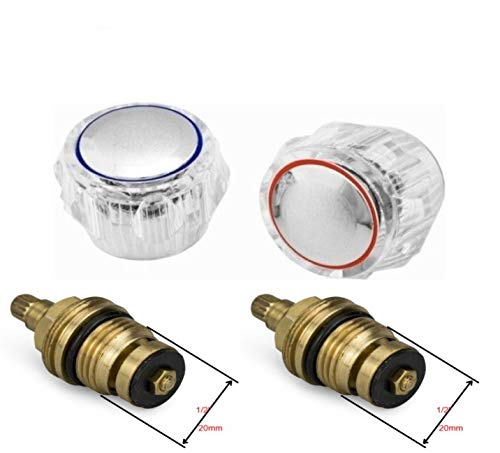 Repuesto estándar de grifo caliente y frío, cabezales superiores de , acrílico, metalizado, cromado, rojo y azul, sistema PSW Trade Suppliers LTD (se vende en pares)