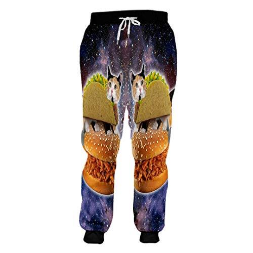 Pantalones de chándal para hombre con estampado de hamburguesa y gato en 3D,...
