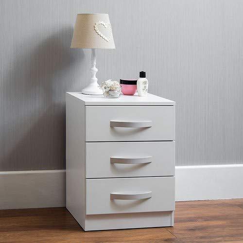 Home Discount commode Hulio 3 laden met handgrepen en metalen rails wit hoogglans vervormbaar kast slaapkamer