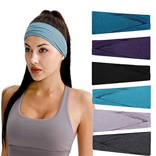 Stirnband für Damen-Elastisch Baumwolle Breit Haarreifen, Rutschfestes Atmungsaktives Schweißband Sport Stirnbänder für Laufen, Wandern, Gesicht Waschen, Make-up, Fahrrad, Fitness und Yoga(6 Stück)
