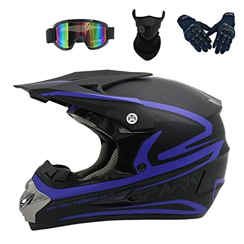 HT&PJ Motocross Helmet Downhill Helmet ABS Shell DOT Safety Standard with Goggles Mask and Gloves, Unisex, Suitable for Various Off-Road Activities (Blue)