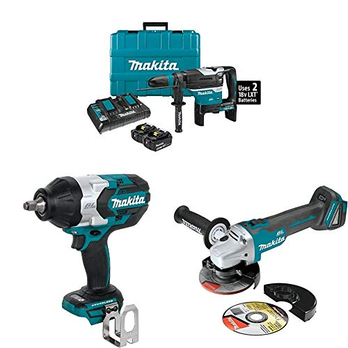 Makita XRH07PTUN 18-Volt X2 LXT Brushless Cordless 1-9/16' AVT Rotary Hammer Kit, AFT, AWS (5.0Ah) with XWT08Z 1/2 inch Sq. Drive Impact Wrench and XAG04Z 4-1/2 inch / 5 inch Cut-Off/Angle Grinder