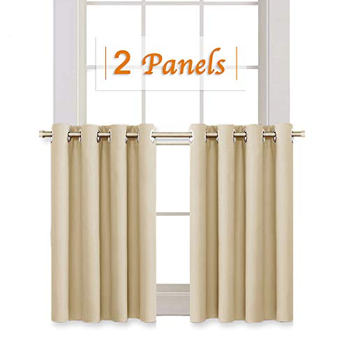 RYB HOME Room Darkening Curtain Tiers for Bedroom, Half Window Covering Blackout Drapes for Living Room/Cafe Shop, Short Curtains for Kitchen, Wide 52 x Long 36 inch, Biscotti Beige, 2 Panels