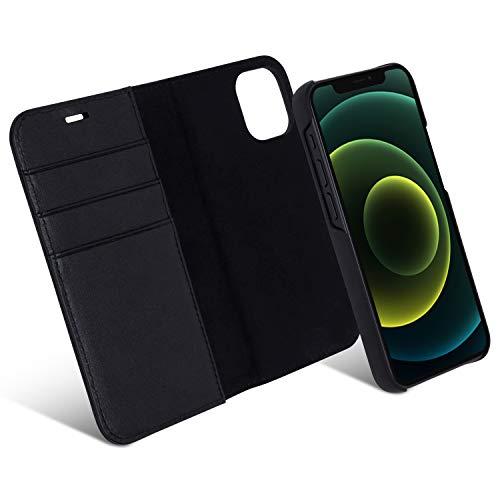 iPhone 12 Mini Hülle Kunstleder 2 in 1 Lederhülle Case Schwarz - CASEZA Zurich 2