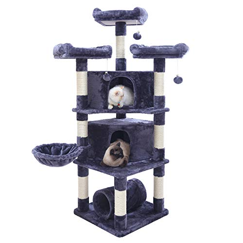 Hey-bro 65 inches Extra Large Multi-Level Cat Tree Condo Furniture with Sisal-Covered Scratching Posts, 2 Bigger Plush Condos, Perch Hammock for Kittens, Cats and Pets, Smoky Gray MPJ030G