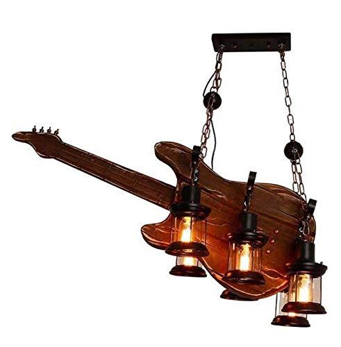 Hogreat Candelabro Candelabro Hierro Barco Madera Guitarra Forma Candelabro Ropa Cafetería Industrial Creativo Vintage Luz de Madera