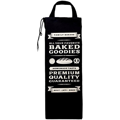 Promobo–Borsa per pane e baguette, stile Bistrot retrò, Colore: Nero