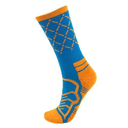 Basketball Net Socks - Anax Advantage: Cooldry Light Compression Crew Basketball Socks by Crown Sporting Goods (Blue & Orange, Medium)