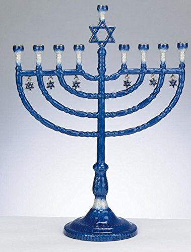 Rite Lite 12' Blue and White Enameled Hanukkah Menorah with Star of David Charms