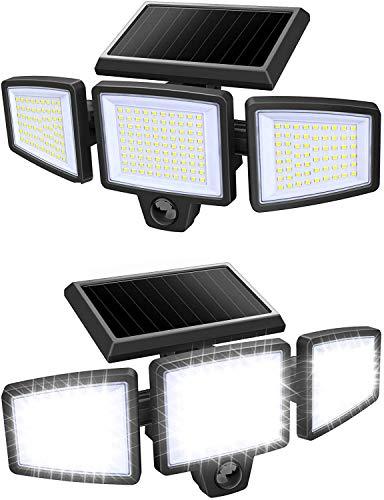SLENPET Solar Outdoor Motion Sensor Lights, 210 LED 2500LM Bright Wireless Security Light, IP65 Waterproof, 6500K, 3 Adjustable Heads, 270° Wide Angle Illumination Flood Light, 2 Pack