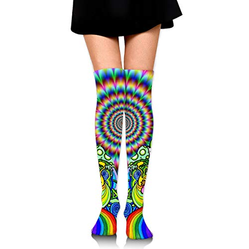 Trippy Weed Live Over Knee Thigh Socks High Thigh Stockings Women Sock for Cosplay, Leg Warmers Length 23.6 in. Black