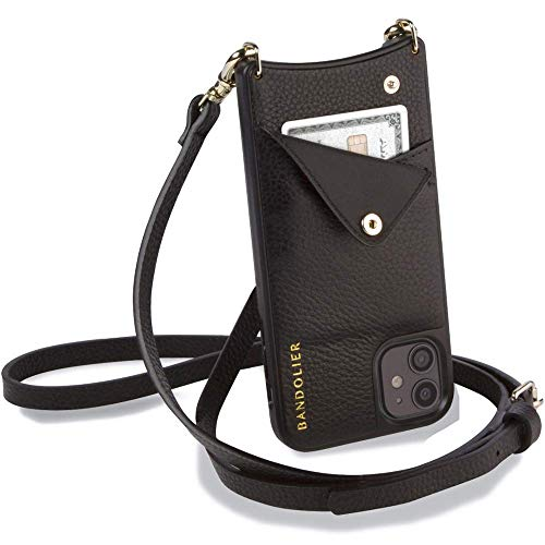Bandolier Emma Crossbody Phone Case and Wallet - Black Leather with Gold Detail - for iPhone 11 Pro...