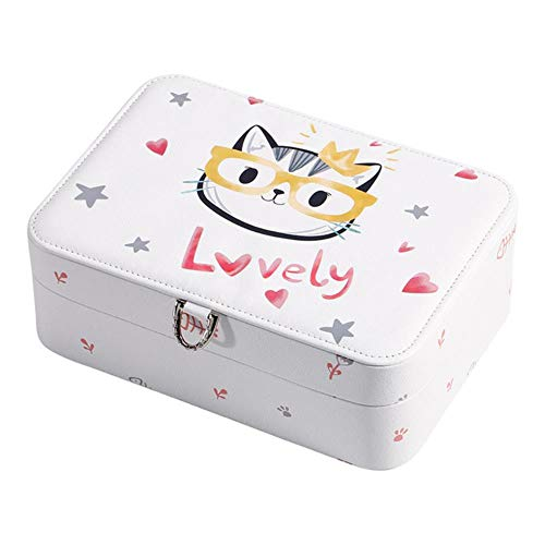 Preisvergleich Produktbild STED Cartoon Bedruckte Schmuckschatulle Cute Mass Jewellery Box Aufbewahrungsboxen Schmuck Fashion Design Box,  Weiß,  M.