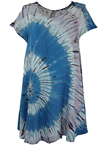 Guru-Shop Batik Tunika, Midikleid, Strandkleid, Kurzarm Sommerkleid für Starke Frauen, Damen, Blau, Synthetisch, Size:42, Kurze Kleider Alternative Bekleidung