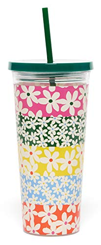 sip tumbler with straws Ban.do Sip Sip Insulated Tumbler with Reusable Straw, 24 Ounce Floral Travel Cup, Daisies