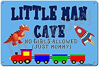 """Mvgges Funny Little Man Cave Boys Bedroom Door Sign 12""""x8"""" Metal Tin Sign Wall Decor No Girls Allowed Just Mommy Dinosaur ..."""