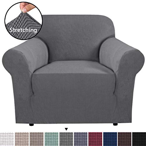 BellaHills Stretch Chair Slipcover Sofa Cover Furniture Protector Cover Luxury Lycra High Spandex Small Checks Knitted Jacquard Sofa Cover Chair Covers for Living Room (Chair-1 Seater, Steel Grey)