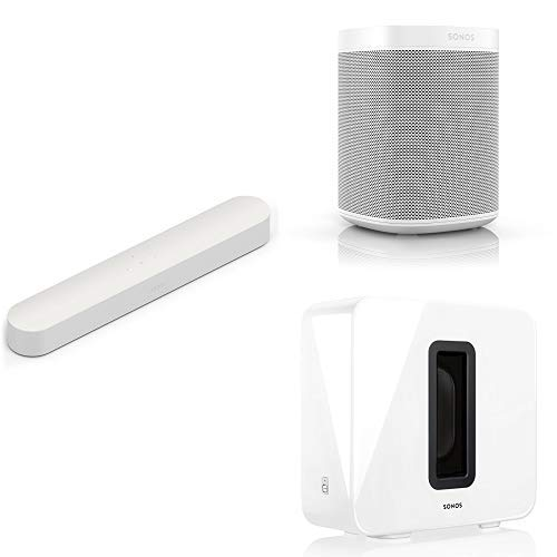 Sonos 5.1 Surround Set - Home Theater System with Beam, Sub and a set of two Sonos One Speakers. Compact Smart TV Sound bar with Amazon Alexa voice control built-in. (White)
