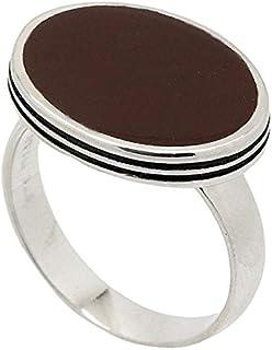 خاتم فضة استرليني ملكي للرجال بحجر كريم بني من أنتك