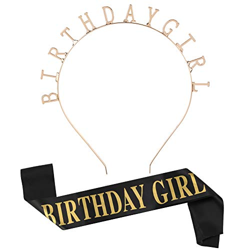 DrafTor Geburtstag Kopfschmuck Mädchen Brief Geburtstag Stirnband Tiara Krone Haarband mit Geburtstag Mädchen Glitter Satin Schärpe Haarschmuck