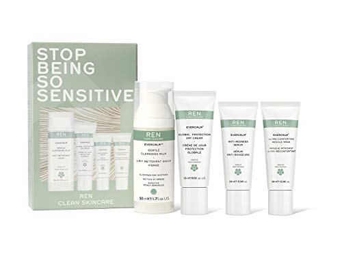 REN Clean Skincare Stop Being So Sensitive Evercalm Value 3-Piece Set ($50 Value) Includes Gentle Cleansing Milk, Global Protection Day Cream, Anti-Redness Serum & Ultra Comforting Rescue Mask