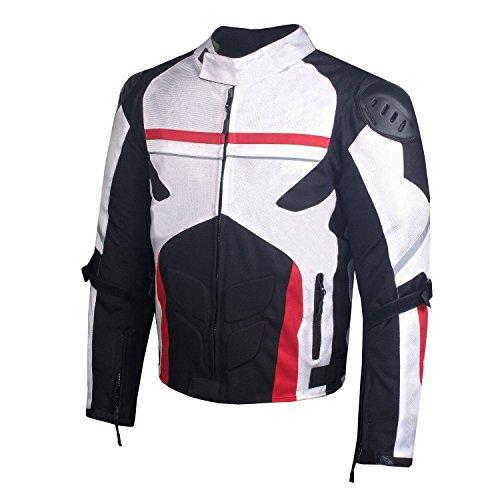 AirTrek Men Mesh Motorcycle Touring Waterproof Rain Armor Biker Jacket White XL