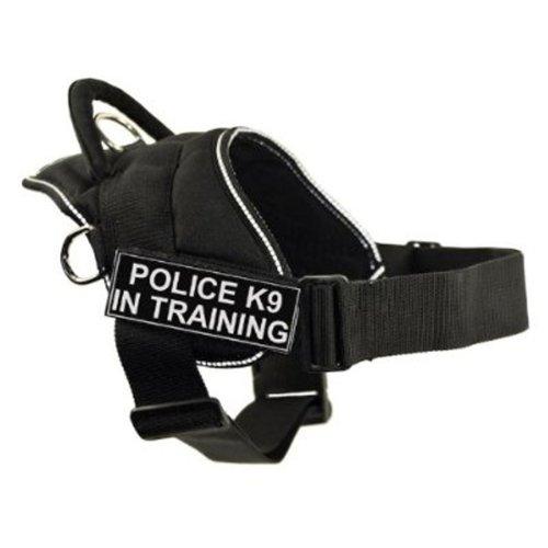 Dean & Tyler DT Fun Works Geschirr Police K9 im Training, schwarz mit reflektierendem Rand, Größe XS, für Umfang: 50,8 cm bis 58,4 cm