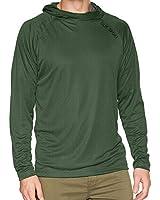 SILIK Men's Hooded Long Sleeve T Shirt Lightweight Sunblock Sweatshirt Sun UV Protection Sportswear Athletic Pullover Hoodie for Workout, Running, Fishing, Hiking, Surfing, Green S