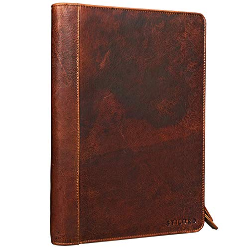 STILORD 'Julius' Vintage Cartella porta Documenti e per Tablet 12 Pollici Organzier rigido Portadocumenti in vera Pelle, Colore:kara - cognac