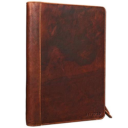 STILORD 'Julius' Vintage conferentiemap lederen schrijfkoffer aktetas documentenmap A4 organizer 12 inch tablet tas echt runderhuid, Kleur:kara - cognac
