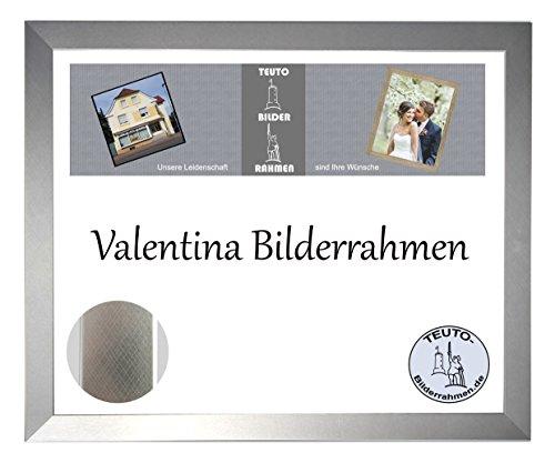 Valentina Holzwerkstoff Bilderrahmen Modern Abgerundet 90 x 170 cm Farbe und Verglasung Wählbar 170x90 cm, Hier Farbe: Alu gebuerstet mit Acrylglas Antireflex 2mm