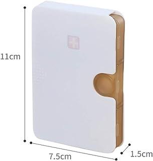 Small Pill Box Portable Mini Pack One Week Drug Drug Storage Box Dispensing Travel Portable Pills Pill Box LWWOZL (Color : Brown, Size : 11cm×7.5cm×1.5cm)