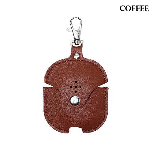 shihao159 Kleurrijke Anti-verloren draad Zachte Coque Oortelefoon Buidelzak Lederen Hoesje Hoofdtelefoon Tassen Beschermende Huid Koffie
