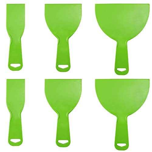 Aallo 6 Piezas Espátulas de Plástico Flexible Espátulas para Masilla Cuchillas de Plástico para Masilla para Masilla, Parche, Papel Pintado- Verte