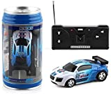 Mini Coke Cans RC Pocket Racer Radio Remote Control Speed Micro Electric Four-Way Model Racing Racing Car Toy Gift (Blue)