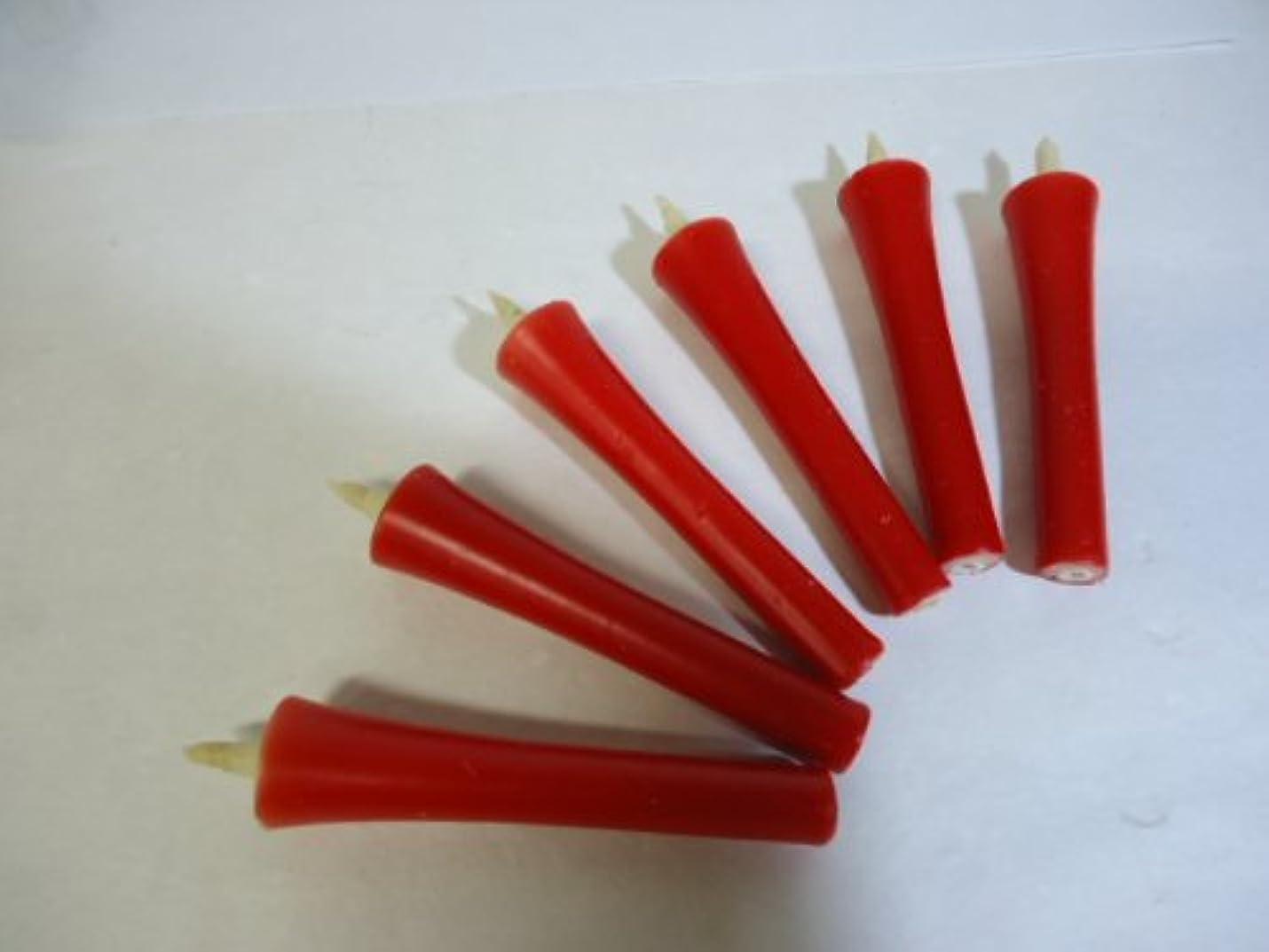 継続中火薬プレーヤー和ろうそく 型和蝋燭 ローソク 【朱】 2号 イカリタイプ 朱色 小箱 6本入り