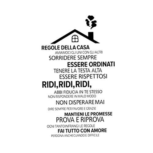Peel And Stick Wall Stickers Rimovibili Regole della casa Italiana Decorazione della casa (Nero)