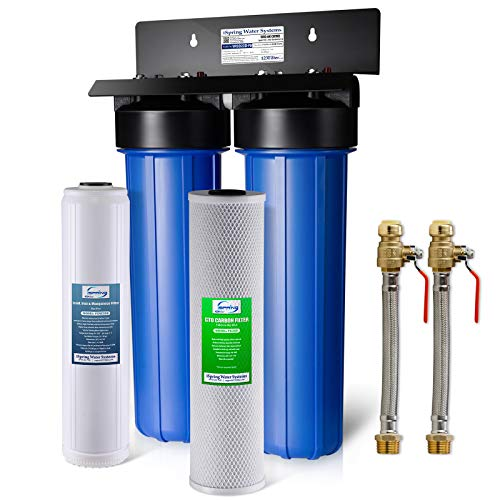 """iSpring WGB22B-PB+AHPF12MNPT16X2 2-Stage Whole House Water Filtration System with 20"""" x 4.5"""" Big Blue Carbon Block and Lead Reducing Filters and 3/4"""" Push-fit Stainless Steel Hose Connectors"""